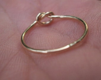 while supplies last, cute and dainty 14kt gold filled love knot ring, any size