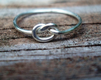sale, set of 8, Jewelry, ring, love knot, argentium sterling silver, lovers knot ring, 18g