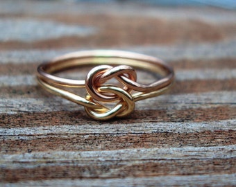 Etsy jewelry, love KNOT ring, celtic,14kt gf, arg ss, 18g, any combo of metals from list below