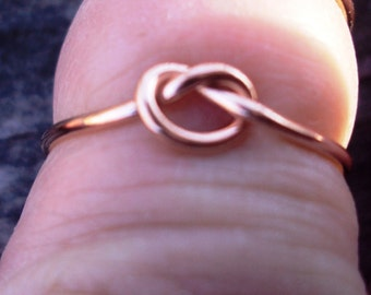 Set of 10, 14kt pink gold filled, yellow gf, and silver,  knot ring, love knot, any size , 18g, 1mm thick