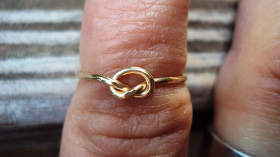 Dainty 14kt gold filled love knot ring single knot, also available in argentium sterling silver