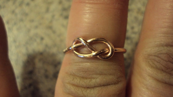 Etsy jewelry, knot ring, infinity knot, 14kt ROSE pink gold filled, handmade, 16g, one ring,