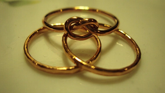 3 rings - etsy jewelry, 14kt Rose Pink gold filled, knot ring, stacking rings, 16g,