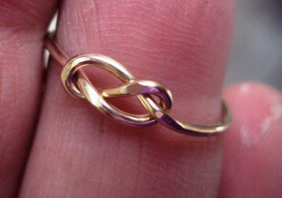 Jewelry, ring, love knot, never ending knot, 14kt gold filled,celtic knot ring, single knot ring, lovers knot ring, 18g