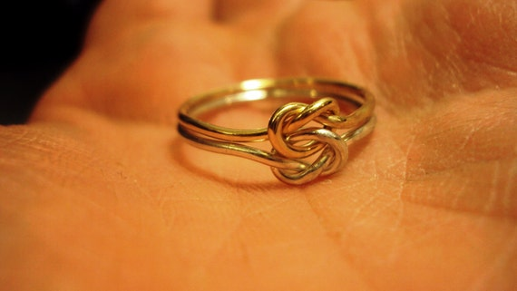 Set of 2 rings,   Argentium Sterling silver, 14kt gold filled, two tone,  love knot ring, bi metal