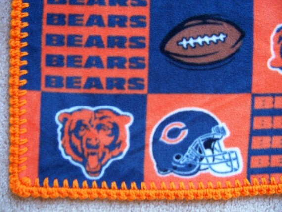 CHICAGO BEARS Baby Blanket, FLEECE with Hand Crochet Edge