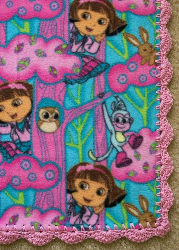 DORA the EXPLORER Baby Blanket, Pink & Aqua FLEECE with Hand Crochet Trim