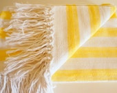 Hand-woven 'Honey' Striped 100% Cotton Summer Blanket