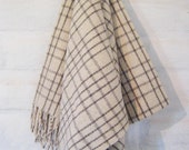 CREAM WIRE PLAID 100% Pure Virgin Wool Minimal Mexican Blanket/Throw/Sarape/Poncho