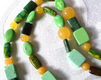 Beaded Necklace Jade Turquoise Multi Natural Stones of greens and blues