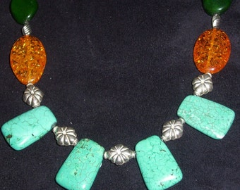 Turquoise Amber Necklace large chunky beaded Handmade