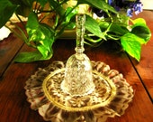 Exquisite vintage Depression Glass patterned dinner bell with clear glass ringer on chain On Sale and Free Shipping