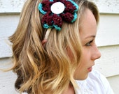 Burgundy and Turquoise SWAG Headband