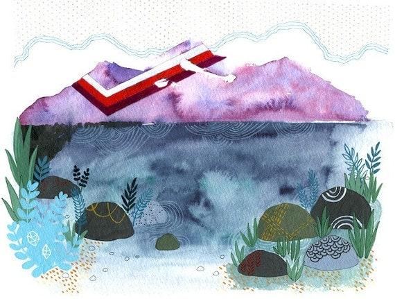 Lake's Edge, art print 8.5 x 11