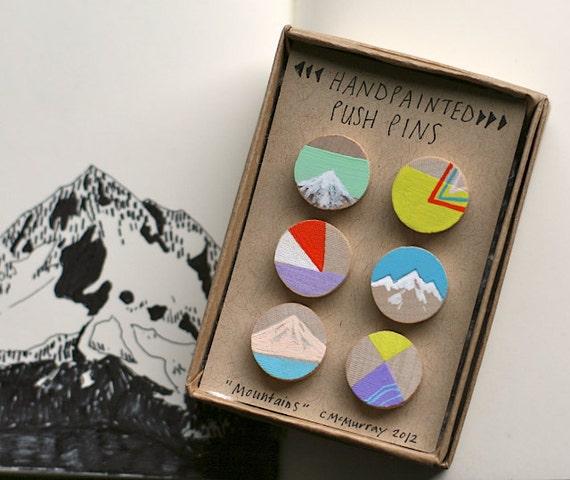 Handpainted push pins, Mountains Set
