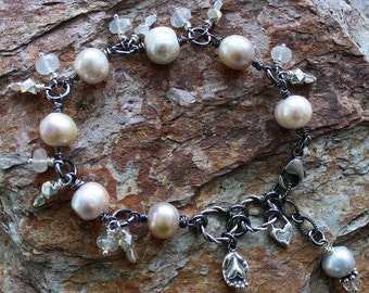 Handmade Jewelry Luxe White OPALS Bracelet, Wedding Bling Natural Color Freshwater Pearls Handcrafted Artisan Sterling Silver Bracelet