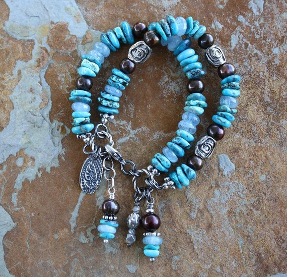 SALE 2-Strand Turquoise, Aquamarine & Chocolate Freshwater Pearls Handcrafted Artisan Sterling Silver Bracelet - Use Coupon Code