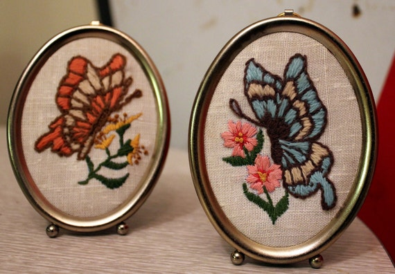 Two Vintage Embroidered Butterfly's and Flowers Needlepoint 1970s