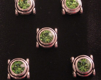 Swarovski Peridot Green Sliders/Spacers (6)