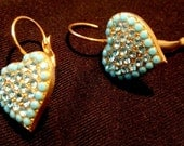 Heart Shaped Earrings embedded with Swarovski Crystals and Semi-precious Turquoise Stones