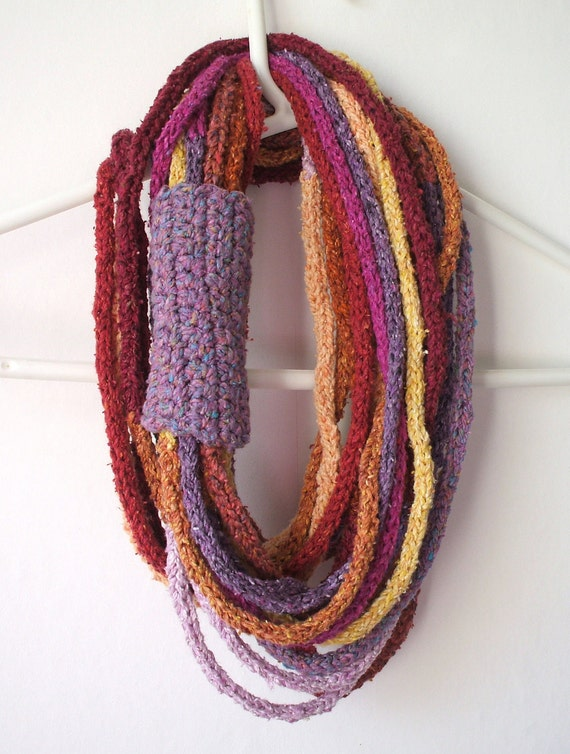 Summer Sunset Silk cotton mix loop necklace scarf cowl