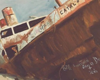Catala Paper Giclee Print Ship Boatel Beached Ocean Shores Washington Beach by Carol Thompson