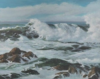 Midday Breaker Paper Giclee Print Seascape Ocean Waves Sunny by Carol Thompson