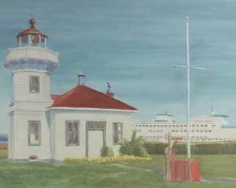 Ferry At Mukilteo Lighthouse Paper Giclee Print Washington State by Carol Thompson