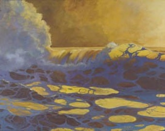 The Sea Is Gold Paper Giclee Print Seascape Sunset Ocean Sea by Carol Thompson