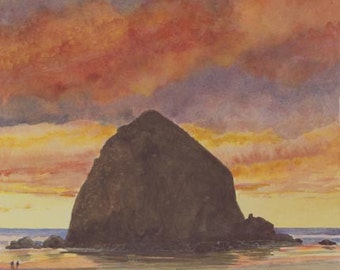 Cannon Beach Sunset Paper Giclee Print Haystack Rock Seascape by Carol Thompson