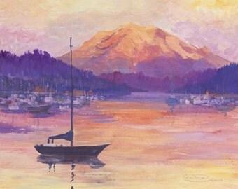 Harbor Sunset Paper Canvas Giclee Print Boat Sailboat Mt. Rainier Gig Harbor Washington by Carol Thompson