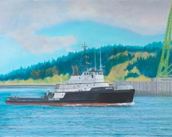 Natoma Paper or Canvas Giclee Print Tugboat Columbia River Astoria Oregon Bridge by Carol Thompson