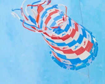 Star Spangled Spinsock Paper Giclee Print Kite Flying by Carol Thompson