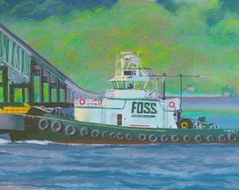 When Tug Comes To Push Paper Giclee Print Tugboat Astoria Bridge Oregon Columbia River by Carol Thompson