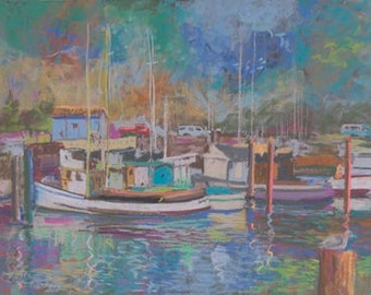 Fort Bragg Harbor Paper Giclee Print Boats California by Carol Thompson