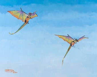 Double Dragons Paper Giclee Print Kite Flying by Carol Thompson