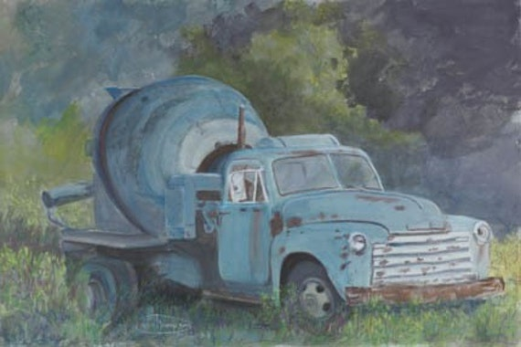 Blue And Proud Paper Giclee Print Cement Truck Construction Concrete by Carol Thompson