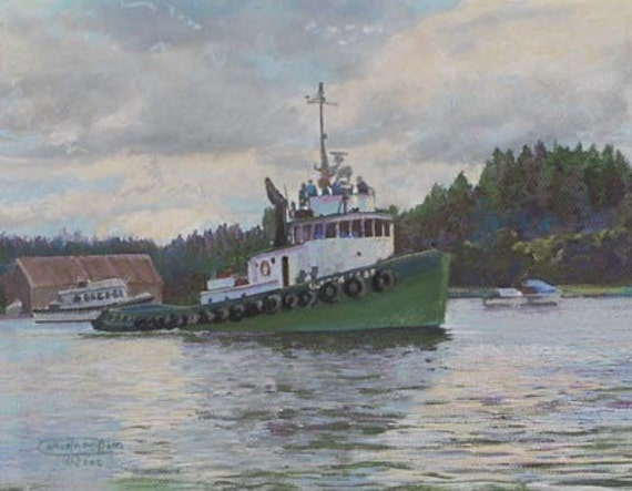 Duncan Foss Paper Giclee Print Tug Tugboat Boat Olympia Washington Harbor Carol Thompson