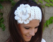 Winter Headband in White with Flower - FREE shipping