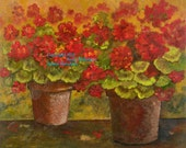Note Cards - NEW - Two Geraniums - (Blank)