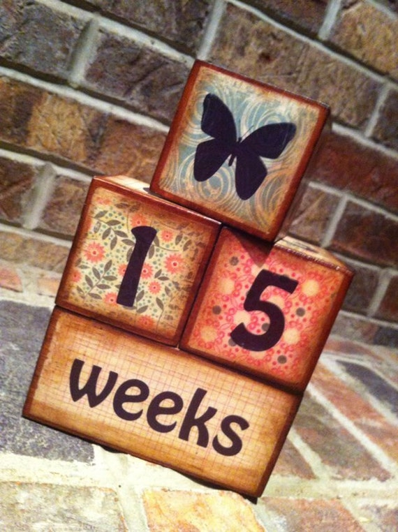 Wooden Baby Blocks Age Blocks for Photos Baby Girl Reds Teals READY TO SHIP