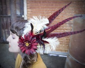 EVA JINX - Red Gerber w Cream Ostrich & Dyed Red Rooster and Pheasant Feather Fascinator