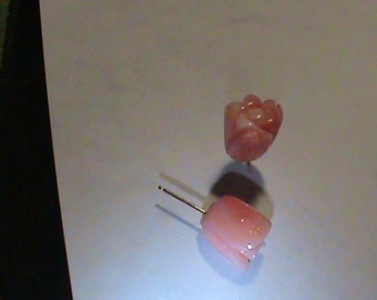 14kt Gold Carved Angel Coral Rose Earrings