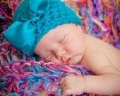Baby Girl Hat, Newborn Hat, Bow Hat, Turqoise Baby Hat, Baby Beanie, Girl Hat, Crochet Baby Hat, Infant Hat SALE
