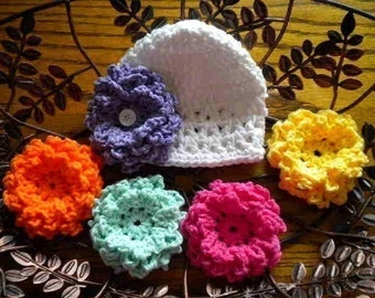 Crochet Baby Hat With 5 Interchangable Flowers ~ Baby Girl Coming Home Hats ~ Newborn Hat With 5 Flowers ~ Hats With Interchangable Flowers