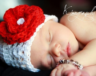Adorable Baby Beanie With A Cherry Red Flower - Baby Girl Hat, Christmas Hat,Newborn baby girl hat,Flower hat,toddler hat,
