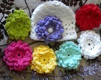 Crochet Baby Hat With 5 Interchangable Flowers, Baby Girl Coming Home Hats, Newborn Flower Hats, Hats With Interchangable Flowers, 5 Flowers