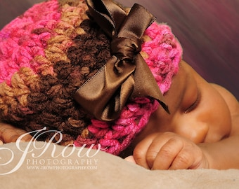 SIMPLE AND SWEET  Baby Girl Hat -  Newborn Crochet Hat -Light Pink, Hot Pink and Chocolate brown
