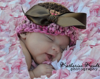 Newborn Baby Girl Crochet Hat -Light Pink, Hot Pink and Chocolate brown