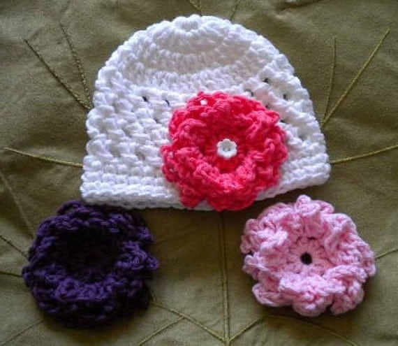 Newborn Hat With 3 Interchangable Flowers, Baby Girl Coming Home Hat,  Newborn Flower Hats, Hats With Multible Flowers, Summer baby hats